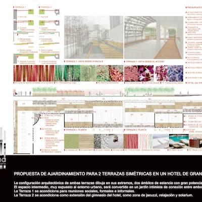 Propuesta ajardinamiento de una  terraza en un hotel en Granada