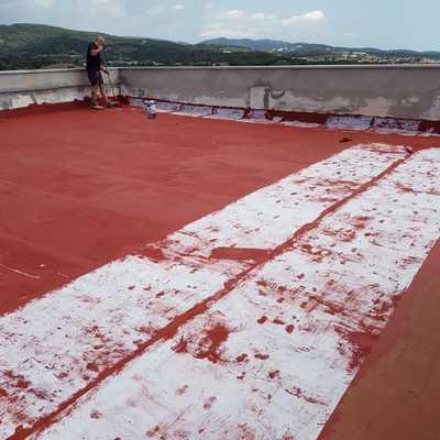 Impermeabilización de terraza con fibra de vidrio.
