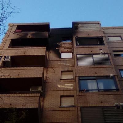 Intervención tras un incendio en Valencia.