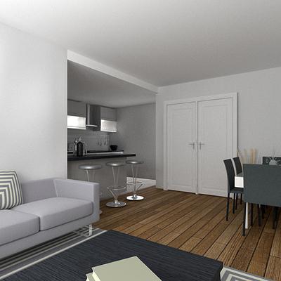 Infografía 3D del espacio del salón
