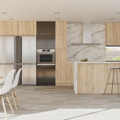 Infografía 3d, Render. Interior cocina_salón. Brisbane, Australia