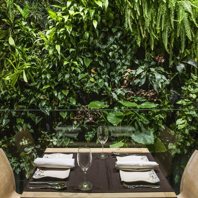 Jardín vertical restaurante de la O.