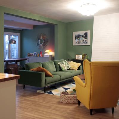 Salón en verde y amarillo