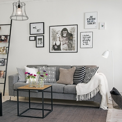 Prepárate para el invierno en casa combinando manta y sofá