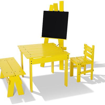 mesa infantil sillas amarilla