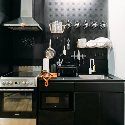 Mini cocina negro