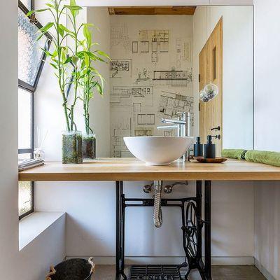 Mueble baño pie máquina coser
