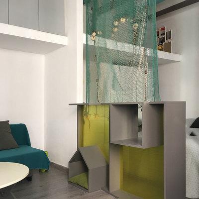 Mueble separador y zona vestidor con altillo