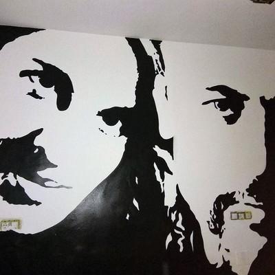 Mural decorativo en dormitorio.