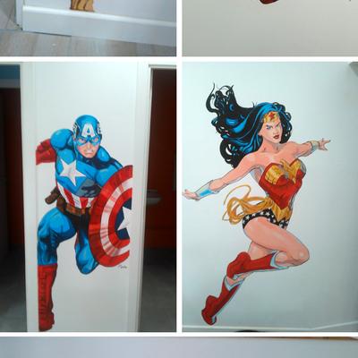 Mural para cafetería de cereales con temática de superheroes