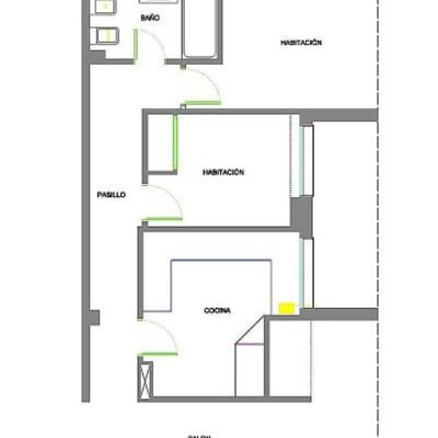 Plano situación original de la cocina y habitación a redistribuir