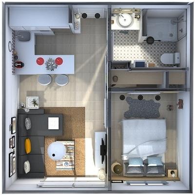 Proyecto De Interiorismo Para Apartamento De 30 M2