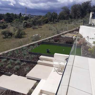 obra exterior total ,diseño,jardineria y construccion de piscina