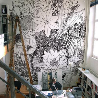 papel pared flores