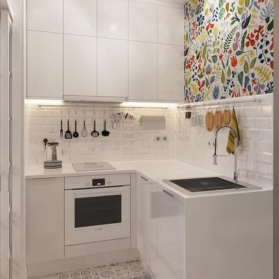 papel pintado en la cocina