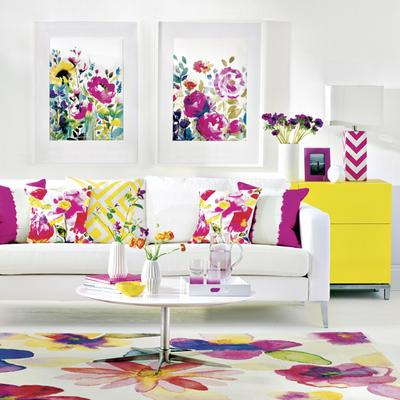 salón con estampado de flores