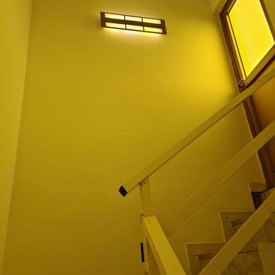 Proyecto de pintura y reparación de grietas en caja de escaleras y interior de vivienda.