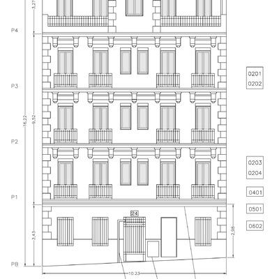Proyecto y dirección de obras de restauración subvencionadas de edificio de viviendas, en c/ Orden nº 24 (Madrid).