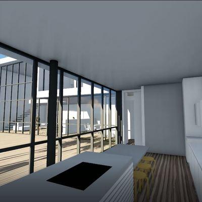 Vivienda de lujo de estilo moderno con ventanales interiores en Puerta de Hierro