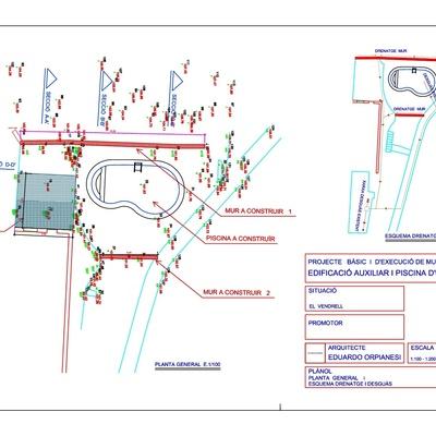 Proyecto de construcción de muros de contención, piscina privada y construcción anexa