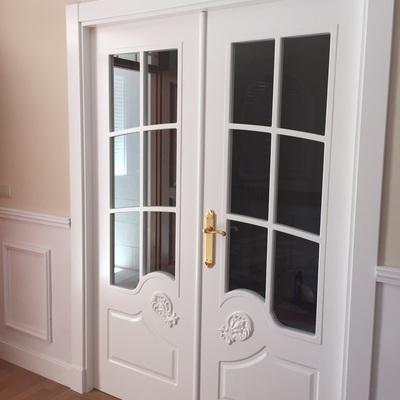 puerta doble saln con talla