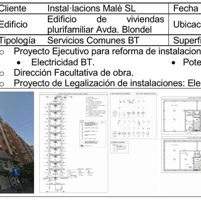 Reforma de Instalación Eléctrica de Servicios Comunes Edificio Plurifamiliar en Lleida (2016)