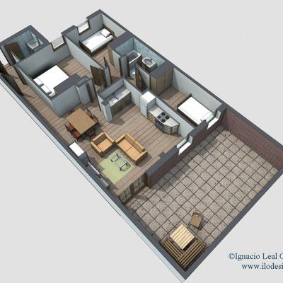 Infografías de piso con patio