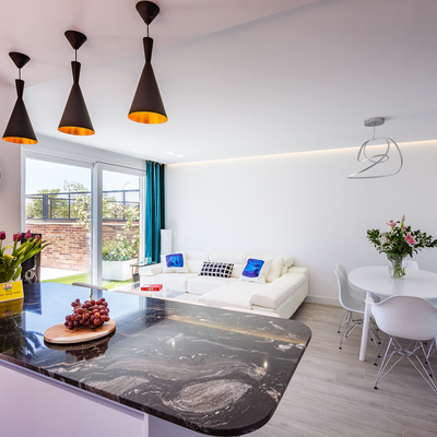 Salón comedor con cocina integrada