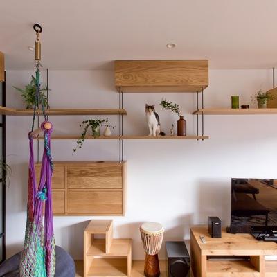 salón con estanteriás de madera