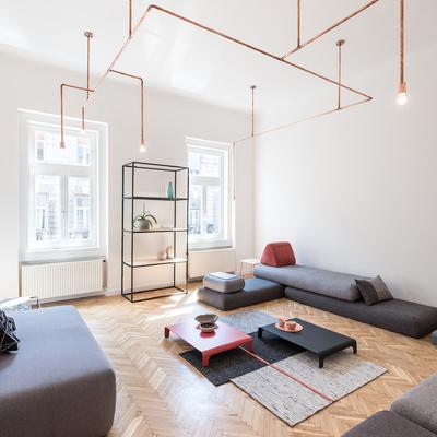 salón diáfano estilo minimalista