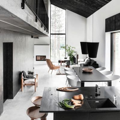 salón negro y blanco