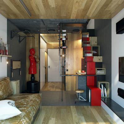 salón pequeño con muros de cristal