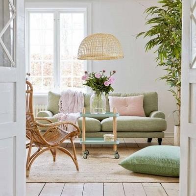 Salón sofá verde