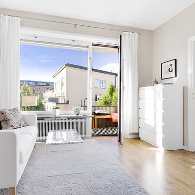 Un piso de 35 m2 donde reinan los tonos claros