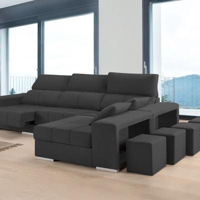 Sofá chaise longue con puffs