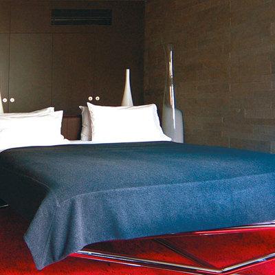 alfombra en rojo y cama azul
