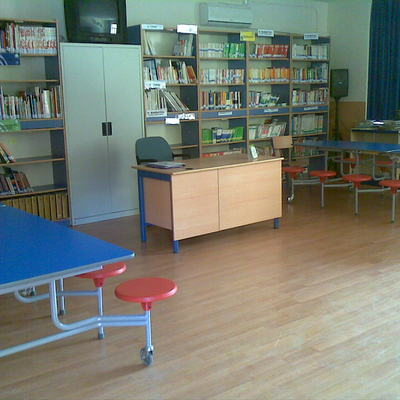 suelo laminado biblioteca