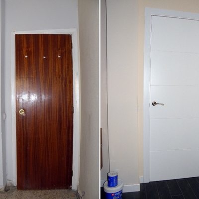 Sustitución de puertas de paso. Antes y después.