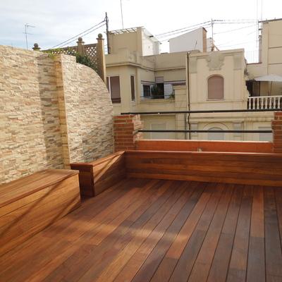 Ideas y fotos de hacer bancos de obra madera para for Bancos para terrazas baratos