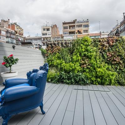 Terraza con jardín vertical