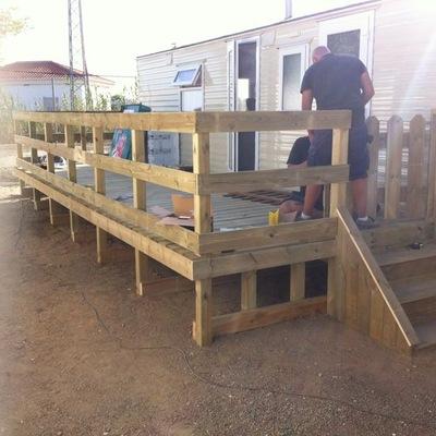 Instalación terraza decking en mobil home