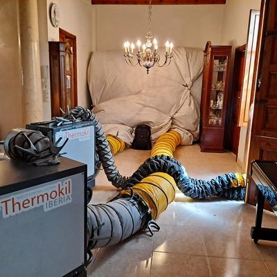 Eliminación carcoma en mueble aparador.