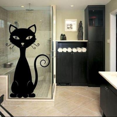 Vinilo decorativo gato en mampara de la ducha