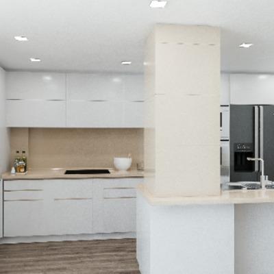 Vista de cocina y estanteria