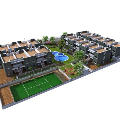 40 bungalos con piscina pista de padel y garajes independiente.