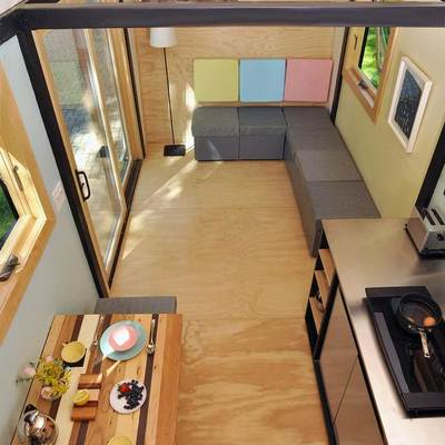 Vista interior casa madera