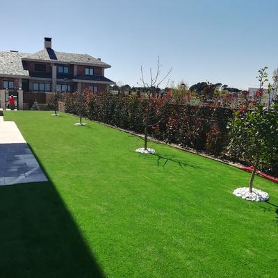 Jardín de césped artificial