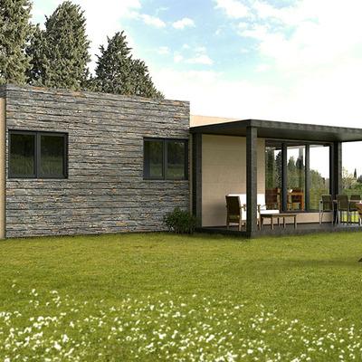 Vista trasera de la Casa Cube de 75 m2