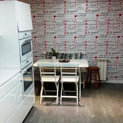 zona office con papel pintado
