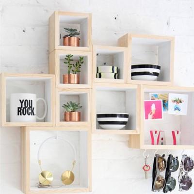 cajas de madera pared